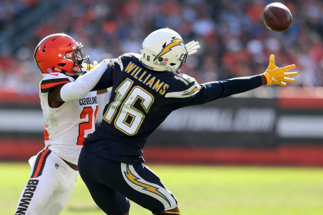 Los Angeles Chargers wide receiver Tyrell Williams (16) is unable to make a catch while defended by Cleveland Browns cornerback Denzel Ward on October 14, 2018 at FirstEnergy Stadium in Cleveland, Ohio. Photo by Aaron Josefczyk/UPI