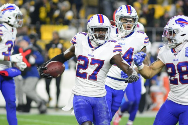 Buffalo Bills cornerback Tre'Davious White (27) had two interceptions in a win against the Pittsburgh Steelers Sunday in Pittsburgh. Photo by Archie Carpenter/UPI