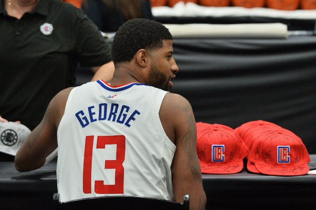 Los Angeles Clippers forward Paul George was fined for his comments after the Clippers' loss to the Philadelphia 76ers on Tuesday night. File Photo by Jim Ruymen/UPI