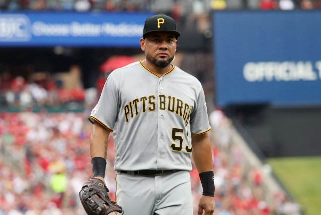 Former Pittsburgh Pirates outfielder Melky Cabrera batted .280 with seven home runs in 378 at-bats last season. File Photo by Bill Greenblatt/UPI