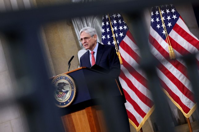 The Justice Department under Attorney General Merrick Garland on Tuesday seized dozens of Iran-linked websites. Pool Photo by Win McNamee/UPI