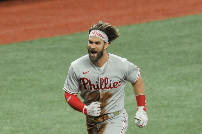 Philadelphia Phillies outfielder Bryce Harper recorded a single, double and home run in a loss to the Washington Nationals on Tuesday in Philadelphia. File Photo by Steven J. Nesius/UPI