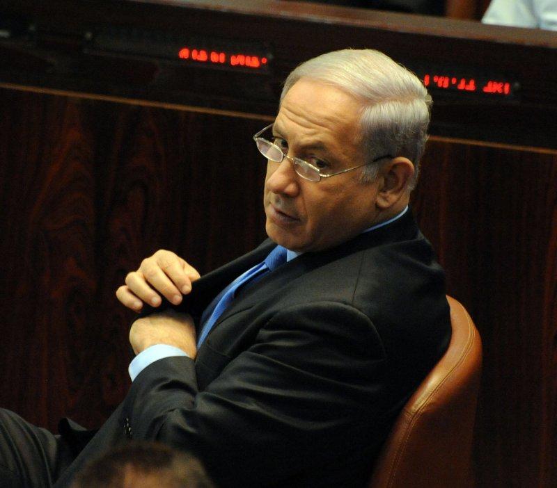 Israeli Prime Minister Binyamin Netanyahu attends a special session in the Knesset in Jerusalem Oct. 20, 2010.UPI/Debbie Hill