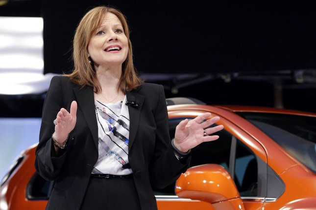 General Motors GM Company CEO Mary Barra speaks at a Chevrolet press event as part of the New York International Auto Show in New York City on April 15, 2014. UPI/John Angelillo