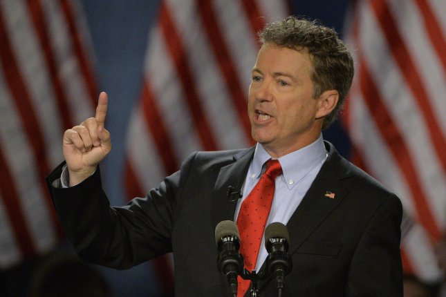 Sen. Rand Paul, R-Ky., delivers remarks as he announces his presidential candidacy in Louisville, Ky. Photo by Jamie Rhodes/UPI