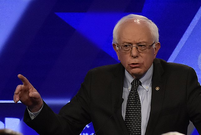 Democratic presidential candidate Sen. Bernie Sanders responds to a question on free trade during a debate in Miami on Wednesday. The issue has been an important one in the Midwest, where Sanders' opposition to trade deals has proven popular with many voters. Photo by Gary I. Rothstein/UPI