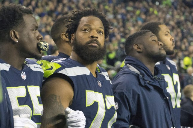 Former Seattle Seahawks and current Philadelphia Eagles defensive end Michael Bennett (72) is facing an indictment from a grand jury in Texas on Friday after an incident in last year's Super Bowl. Photo by Jim Bryant Photo/UPI
