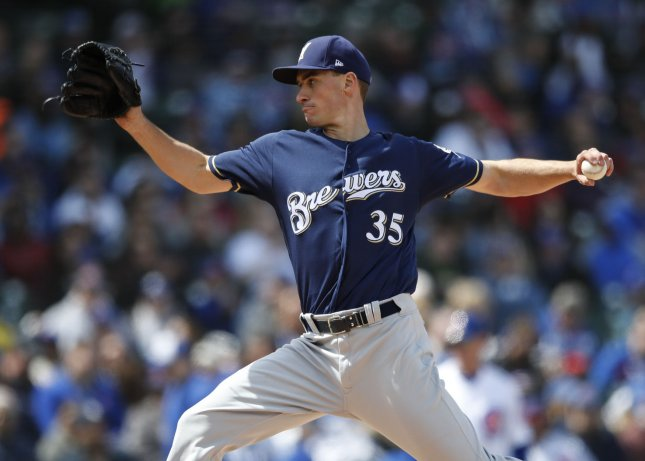 Brent Suter and the Milwaukee Brewers take on the Chicago White Sox on Sunday. Photo by Kamil Krzaczynski/UPI