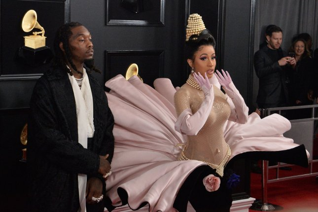 Cardi B (R), pictured with Offset, thanked fans after Please Me passed 100 million views on YouTube. File Photo by Jim Ruymen/UPI