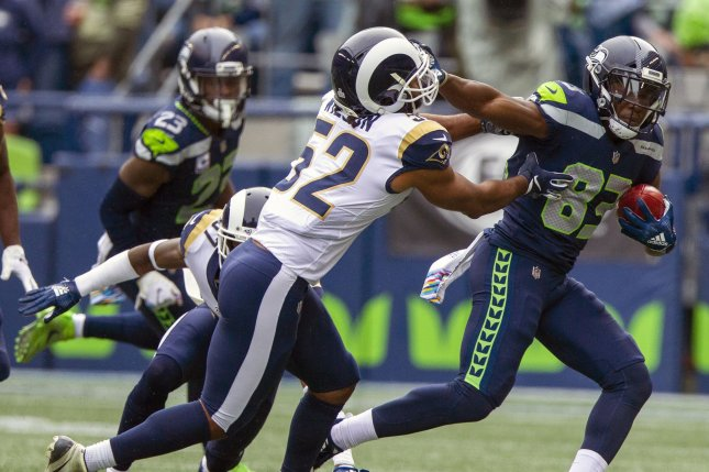Seattle Seahawks wide receiver David Moore (83) suffered a shoulder injury during Thursday's practice. File Photo by Jim Bryant/UPI