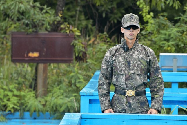 A South Korean soldier stands guard on the foot bridge at the joint security area in the demilitarized zone near Paju, South Korea. File Photo by Keizo Mori/UPI