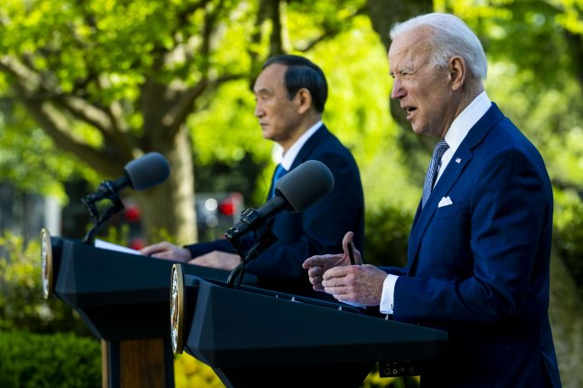 U.S. President Joe Biden and Japanese Prime Minister Yoshihide Suga speak during a joint press conference in the Rose Garden after their meetings at the White House in Washington, D.C., on Friday. Pool Photo by Doug Mills/UPI
