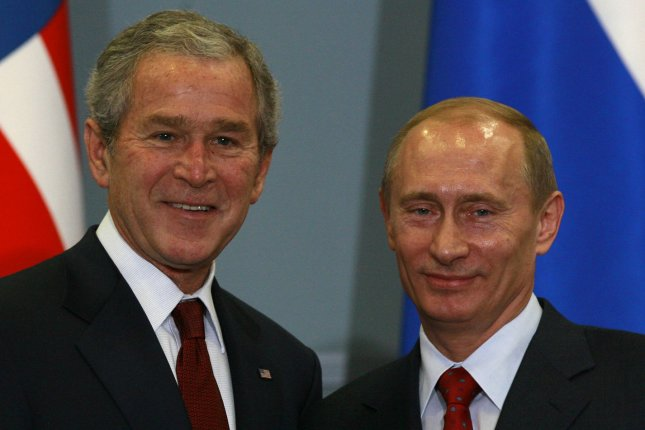 U.S. President George W. Bush (L) and his Russian counterpart Vladimir Putin smile after a joint news conference at the Bocharov Ruchey presidential summer residence at the Black Sea in Sochi on April 6, 2008. Bush and Putin began a final effort on Sunday to try to mend frayed relations face-to-face but with little hopes of resolving the dispute over missile defense. (UPI Photo/Anatoli Zhdanov)