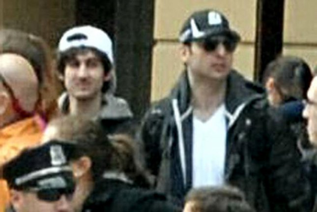 The FBI released a photo of Suspect 1 and Suspect 2 (L) in surveillance video from the Boston Marathon. Suspect 1 is now identified as Tamerlan Tsarnaev, 26, and Suspect 2 is his brother Dzhokhar Tsarnaev, 19, both of Cambridge, Massachusetts on April 19, 2013. Both are suspected of planting the bombs that killed three and injured 170 during the Boston Marathon on April 15, 2013. Tamerlan was killed by police on April 18, 2013 and Dzhokhar is still on the loose near Boston. File photo by UPI