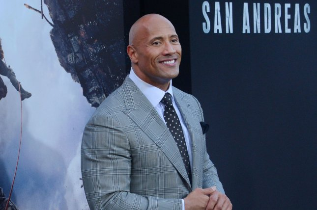 Dwayne The Rock Johnson attends the premiere of San Andreas on May 26, 2015. New Line Cinema recently announced that a sequel to the disaster flick is now in development. File Photo by Jim Ruymen/UPI