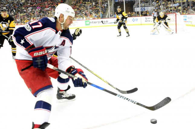 Brandon Dubinsky and the Columbus Blue Jackets face the New Jersey Devils on Thursday. Photo by Archie Carpenter/UPI