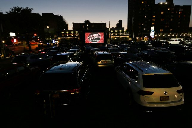 Classic cartoons and movies are shown in the parking lot of Bel Aire Diner in New York City on Thursday, May 21, 2020. Photo by John Angelillo/UPI