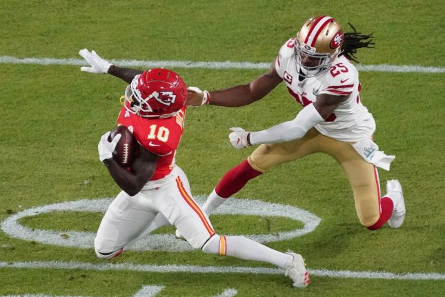 San Francisco 49ers cornerback Richard Sherman (25) was limited to only five games in 2020 because of a calf injury. File Photo by Jon SooHoo/UPI
