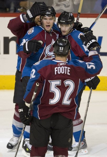 Colorado Avalanche right wing Marek Svatos (upper right) receives congratulations for his goal against the Edmonton Oilers from Adam Foote and Paul Stastny (L) during the first period at the Pepsi Center in Denver on November 8, 2009. Colorado with 26 points ties the San Jose Sharks for the NHL lead and with a win over Edmonton will takeover the NHL points lead. UPI/Gary C. Caskey...