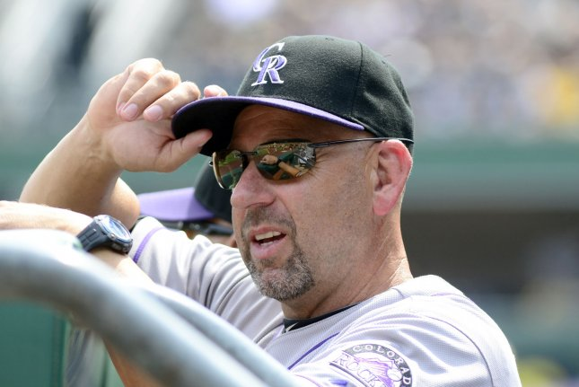 Colorado Rockies manager Walt Weiss (22). Photo by Archie Carpenter/UPI
