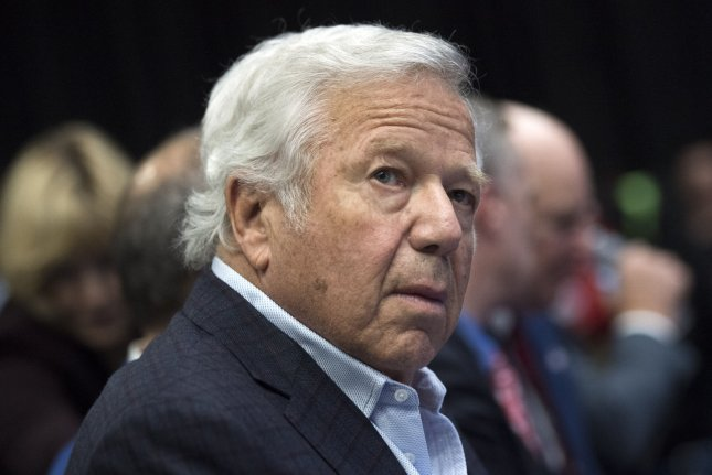 New England Patriots owner Robert Kraft at a press conference by NFL Commissioner Roger Goodell prior to Super Bowl LI in Houston on Wednesday. Photo by Kevin Dietsch/UPI