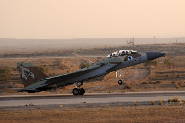An Israeli Air Force F-16 fighter jet takes off during an air show at the graduation ceremony of Israeli Air Force pilots at the Hatzerim Base in the Negev Desert, near Beersheva, Israel. On March 17, 2017, Syria fired anti-aircraft missiles at Israeli military jets. Photo by Debbie Hill/UPI