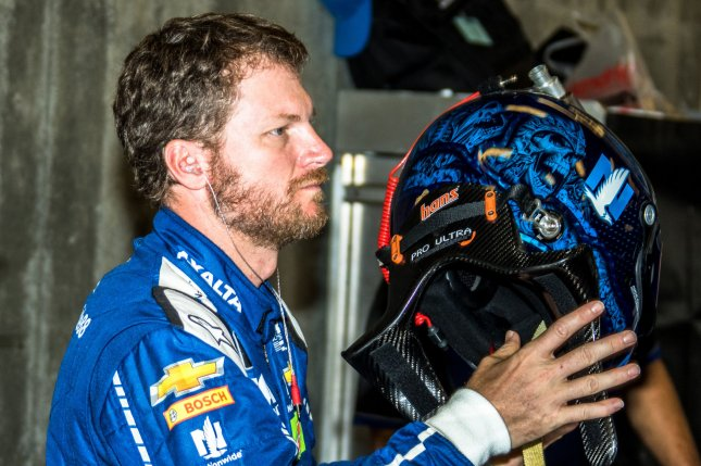 Dale Earnhardt Jr. gets ready for practice for the 2017 Brickyard 400 in Indianapolis late last month. Photo by Edwin Locke/UPI