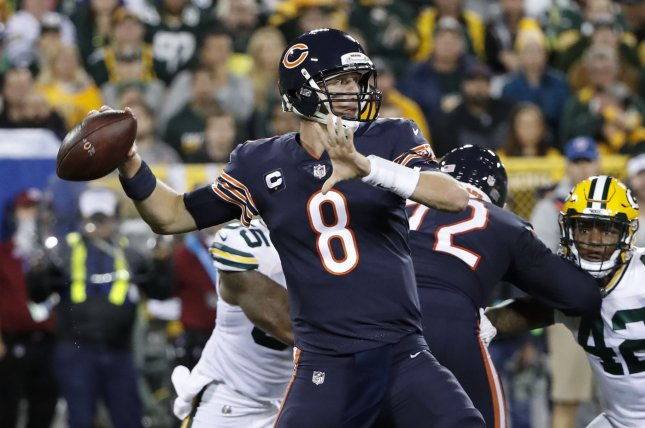 Chicago Bears quarterback Mike Glennon (8) looks to pass the ball against the Green Bay Packers during the first half on September 28, 2017 at Lambeau Field in Green Bay. Photo by Kamil Krzaczynski/UPI