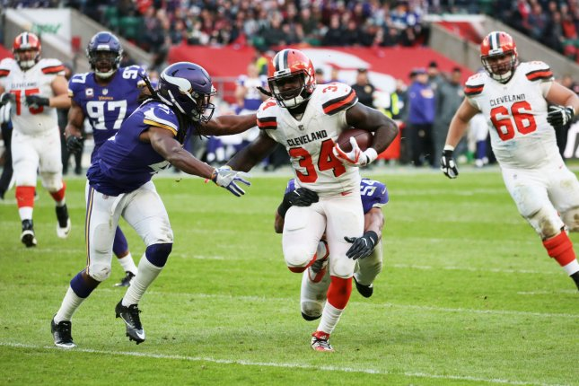 Cleveland Browns running back Isaiah Crowell (34) runs with the football in the NFL International Series Game against the Minnesota Vikings on October 29, 2017 at Twickenham Stadium in London. Photo by Hugo Philpott/UPI