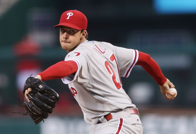 Aaron Nola and the Philadelphia P_hillies take on the San Francisco Giants on Tuesday. Photo by Bill Greenblatt/UPI