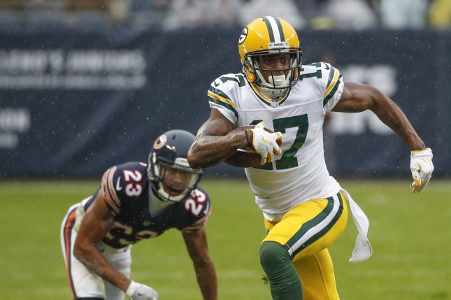 Green Bay Packers wide receiver Davante Adams (17) runs away from Chicago Bears cornerback Kyle Fuller (23) during the first half on November 12, 2017 at Soldier Field in Chicago. Photo by Kamil Krzaczynski/UPI