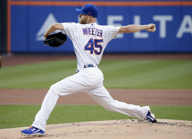 Zack Wheeler and the New York Mets take on the Los Angeles Dodgers on Wednesday. Photo by John Angelillo/UPI