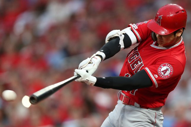 Los Angeles Angels designated hitter Shohei Ohtani belted a 468-foot, two-run homer in a spring training game Wednesday in Tempe, Ariz. File Photo by Bill Greenblatt/UPI