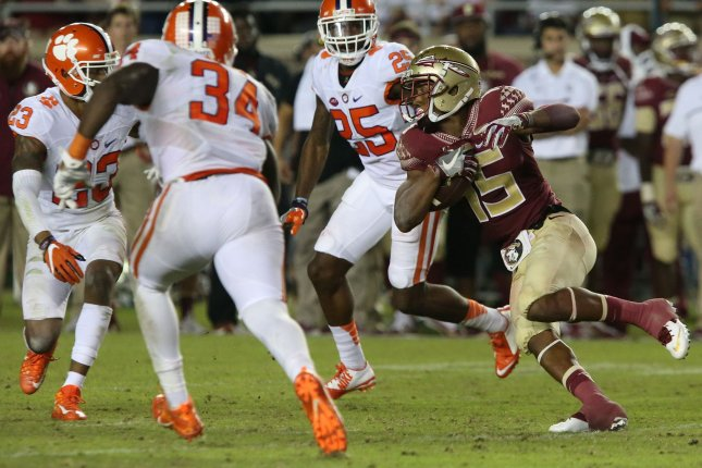 Former Florida State Seminoles wideout Travis Rudolph (R) was the school's leading receiver in 2015 and 2016. He recorded 2,311 receiving yards and 18 touchdowns at FSU before leaving for the NFL. File Photo by Robert Cannon/UPI