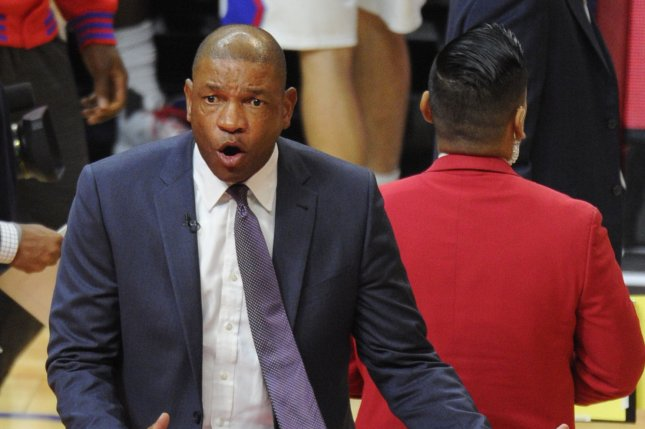 Los Angeles Clippers coach Doc Rivers yells at the referee in the first half of the game against the Dallas Mavericks at Staples Center in Los Angeles on October 29, 2015. Photo by Lori Shepler/UPI