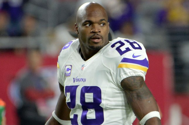 Minnesota Vikings running back Adrian Peterson waits for the hammer to drop. Art Foxall/UPI