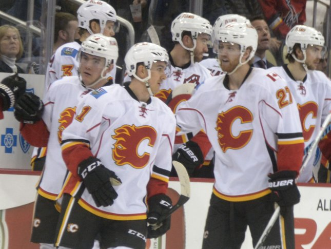 Mikael Backlund took his turn to be the hero for the Flames on Friday by scoring at 3:56 of overtime to lead Calgary to a 3-2 win over the Detroit Red Wings at the Scotiabank Saddledome. File Photo by Archie Carpenter/UPI