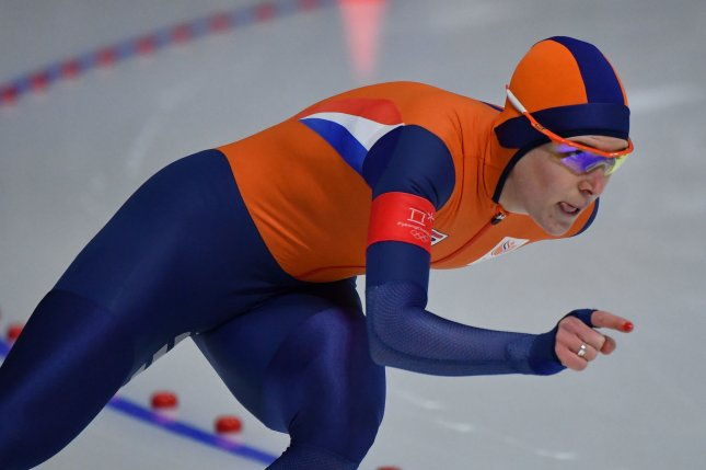 Ireen Wust of the Netherlands competes in the Ladies 1,500m Speed Skating event during the Pyeongchang 2018 Winter Olympics on Monday, at the Gangneung Oval in Gangneung, South Korea. Photo by Richard Ellis/UPI