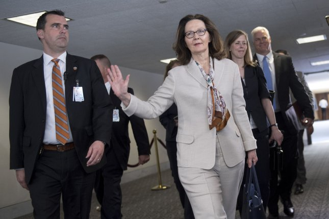CIA Director nominee Gina Haspel leaves the Senate Wednesday after her confirmation hearing in the chamber's intelligence committee. Photo by Kevin Dietsch/UPI