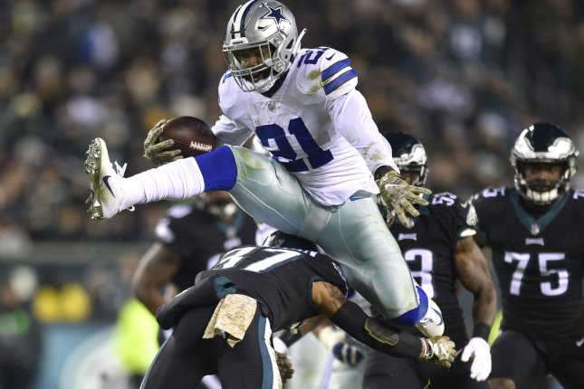 Dallas Cowboys running back Ezekiel Elliott (21) leads the NFL in rushing since entering the league in 2016. File Photo by Derik Hamilton/UPI