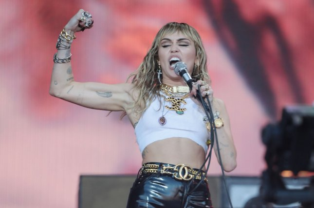 Miley Cyrus said she's two weeks sober after experiencing a relapse during the COVID-19 pandemic. File Photo by Hugo Philpott/UPI