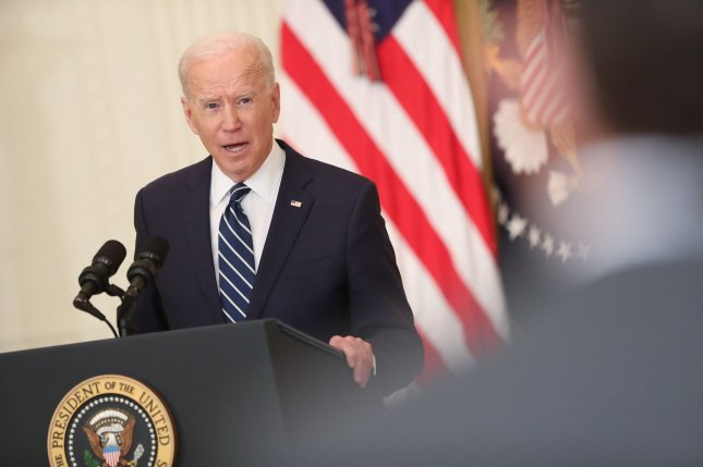 President Joe Biden delivers remarks Thursday during the first formal press conference of his presidency in the East Room of the White House in Washington, D.C.Pool Photo by Oliver Contreras/UPI