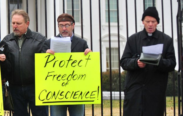 A pro-life activists protest in front of the White House in Washington, D.C. on February 16, 2012. The group was protesting President Obama's new health care mandate requiring religious organizations to cover birth control. UPI/Kevin Dietsch