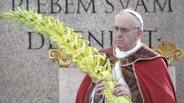 Pope Francis holds papal mass as part of the Palm Sunday celebration on St Peter's square at the Vatican on March 24, 2013. UPI/Stefano Spaziani