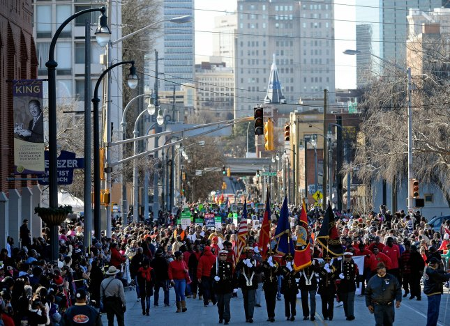 The Martin Luther King Jr. holiday is celebrated in a march in Atlanta Jan. 20, 2014.. UPI/David Tulis