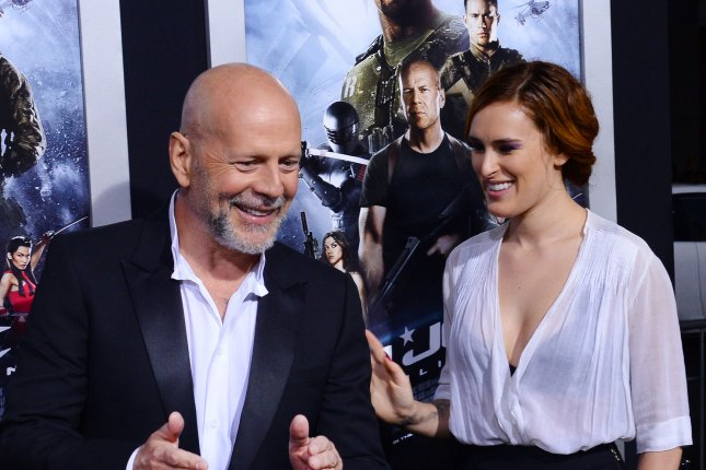 Bruce Willis (L) and daughter Rumer Willis at the Los Angeles premiere of 'G.I. Joe: Retaliation' on March 28, 2013. The actor and ex-wife Demi Moore reunited to support Rumer on Monday. File photo by Jim Ruymen/UPI