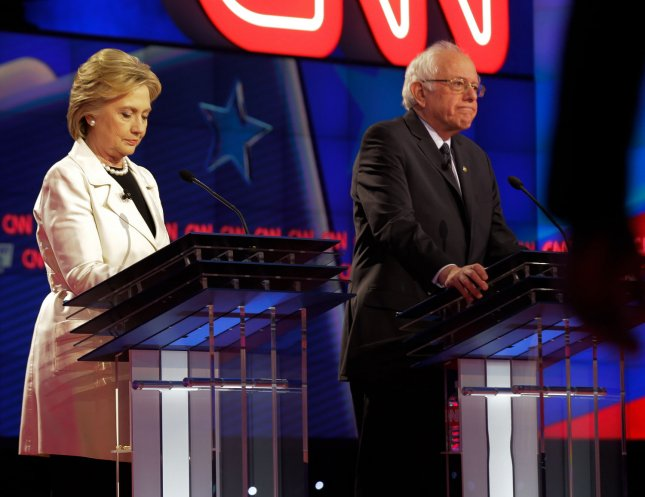 Democratic presidential candidates Hillary Clinton and Bernie Sanders debated for the ninth time Thursday in New York. Photo by Ray Stubblebine/UPI