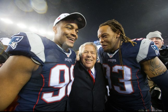 New England Patriots owner Robert Kraft (C) celebrates with defensive lineman Trey Flowers (98) and Jabaal Sheard (93) after the Patriots defeated the Pittsburgh Steelers 36-17 in the AFC Championship at Gillette Stadium in Foxborough, Massachusetts on January 22, 2017. The Patriots will take on the Atlanta Falcons in Super Bowl LI. Photo by Matthew Healey/ UPI