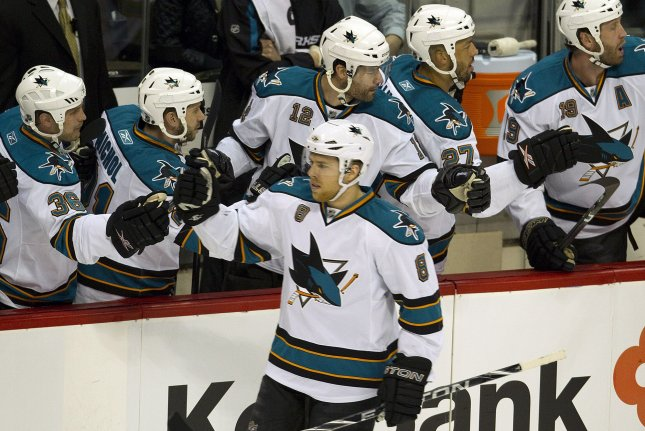 Joe Pavelski (8) scored two goals and Aaron Dell continued his backup goaltending mastery as San Jose beat Dallas. File Photo by Gary C. Caskey/UPI