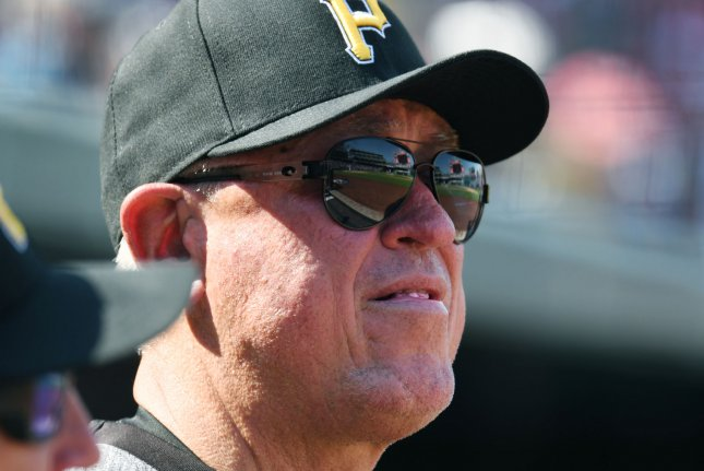 Pittsburgh Pirates manager Clint Hurdle looks on in the ninth inning in game against the Washington Nationals on May 3 at Nationals Park in Washington, D.C. Photo by Pat Benic/UPI